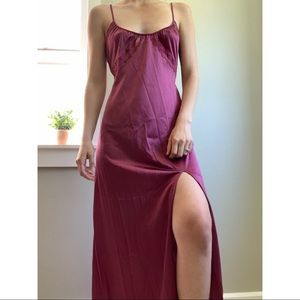 Vintage 70s Flair burgundy lace long nightgown